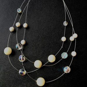 Floating Pearl and Crystal Station Necklace